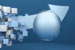 tolkning 3d, modell 3d av pilen, begreppet av utveckling och riktning stock illustrationer