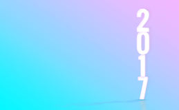 2017 (tolkning 3D) vita nummer med materiell designfärgbackd Arkivbild