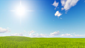Tolkning för blå himmel 3d för grönt gräs för landskap Royaltyfria Bilder