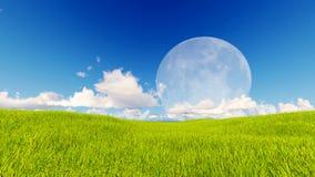 Tolkning för blå himmel 3d för grönt gräs för landskap Royaltyfri Fotografi