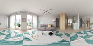 Tolkning för design för inre för stil för sfärisk 360 panoramaprojektion skandinavisk 3D royaltyfria bilder