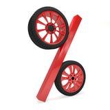 Tolkning för försäljning 3d för bilhjul Arkivfoto