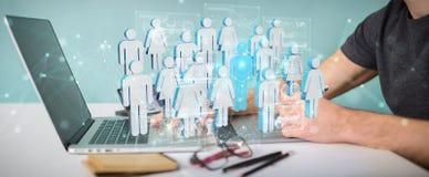 Tolkning för grupp människor 3D för grafisk formgivare hållande vektor illustrationer