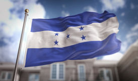 Tolkning för Honduras flagga 3D på byggnadsbakgrund för blå himmel Fotografering för Bildbyråer