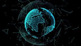 tolkning för 4k 3d av jorden som framför det moderna digitalt Öglor sömlöst Roterande animering för planetjord stock illustrationer