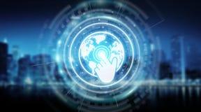 Tolkning för manöverenhet 3D för Digital världskartaskärm Arkivbild