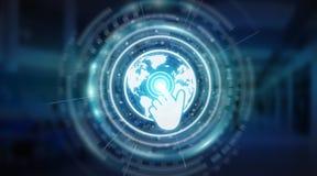 Tolkning för manöverenhet 3D för Digital världskartaskärm Royaltyfri Bild