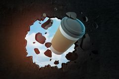 tolkning för närbild 3d av den pappers- kaffekoppen som bryter hålet i svart vägg med blå himmel som ses till och med hålet royaltyfri illustrationer