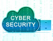 Tolkning för ordningsvakt 3d för Cybersecurity teknologi high tech vektor illustrationer