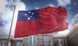 Tolkning för Samoa flagga 3D på byggnadsbakgrund för blå himmel Royaltyfria Bilder