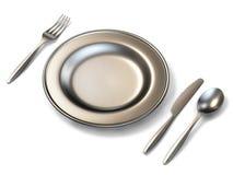Tolkning för sikt för sida för metallplatta, gaffel-, kniv- och sked3D Arkivfoto