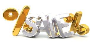 Tolkning för silver 3d för Sale procentsats isolerad guld- Royaltyfri Foto