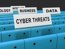Tolkning för skydd 3d för Cyberhotintelligens online- vektor illustrationer