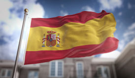 Tolkning för Spanien flagga 3D på byggnadsbakgrund för blå himmel Arkivfoton