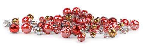 Tolkning för struntsaker 3D för röd och vit jul Royaltyfria Bilder