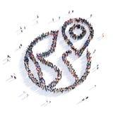 Tolkning för symbol 3D för översiktspekareform Arkivbilder