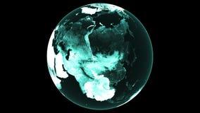 tolkningblått för 4K 3d gör sammandrag den Triangulated strukturen för jordklotet som roterar Planet för Digital teknologi med ko lager videofilmer