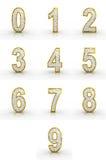 tolkningen 3D av guld-, försilvrar numrerar. Royaltyfri Fotografi