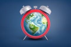 tolkningen 3d av den retro ringklockan med metall sätter en klocka på, och ett jordjordklot i stället för dess framsida står på e vektor illustrationer