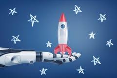 tolkningen 3d av den svartvita robotic armen rymmer en liten retro raket på dess gömma i handflatan på en bakgrund med kritastjär royaltyfri foto