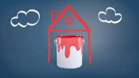tolkningen 3d av en hink med röd målarfärg står inom en enkel bild av ett hus nära en bild av moln på en blått Royaltyfria Bilder