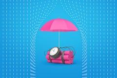 tolkningen 3d av en rosa dynamitpacke med en tid bombarderar och ett rosa paraply som skyddar den från regn vektor illustrationer
