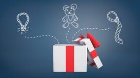 tolkningen 3d av en vit och en röd gåvaask med ett öppet lock står near teckningar av en halsband, en nallebjörn och en slips Royaltyfria Foton
