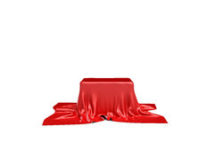 tolkningen 3d av ett stycke av röd satängkläder är rimlig att dölja en ask som isoleras på vit bakgrund Royaltyfria Bilder