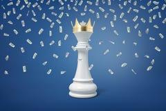 tolkningen 3d av ett vitt schack pantsätter att bära en guld- krona under många fallande dollarräkningar arkivfoton