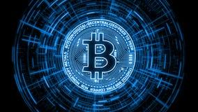 tolkningen 3D av futuristiska moderna glödande Bitcoin ledde logo på att rotera digital binär hudbakgrund royaltyfri foto
