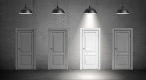 tolkningen 3d av fyra industriella lampor hänger ovanför identiska dörrar och endast en lampan som tänds upp Royaltyfria Bilder