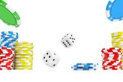 tolkningen 3d av fyra olika topp- kort med kasinochipbuntar och vit tärnar Royaltyfria Bilder