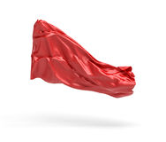 tolkningen 3d av stycket av röd satängkläder flyger i luften som isoleras på vit bakgrund Fotografering för Bildbyråer