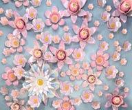 tolkningen 3d av tecknade filmen stiliserade lotusblommablommor på vatten royaltyfri illustrationer
