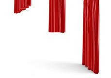 tolkningen 3d av tre röda gardiner för en satäng av det olika formatet hänger på vit bakgrund Arkivfoton