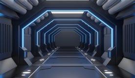 tolkningen 3D möblerade den svarta inre för rymdskeppet med blått ljus, tunnelen, korridoren, futuristisk främre sikt royaltyfri illustrationer