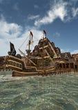 tolkningen 3D piratkopierar skeppet Royaltyfri Fotografi