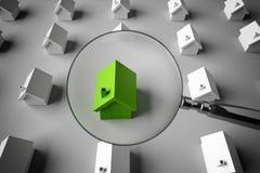 tolkningen 3D söker efter ett till salu hus Royaltyfri Fotografi