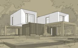 tolkningen 3d skissar av modernt hus royaltyfri illustrationer