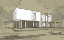 tolkningen 3d skissar av modernt hus vektor illustrationer