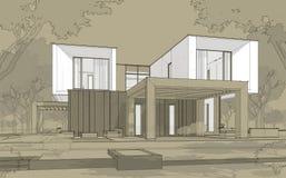 tolkningen 3d skissar av modernt hus stock illustrationer