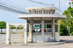 A toll booth with blank signs at the entrance Stock Image