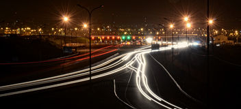 Toll booth at night. With city of kingston jamaica in background Royalty Free Stock Photography