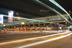 Toll booths with car light Stock Images