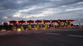 Toll booths on highway stock footage