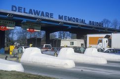 Toll booths to the Delaware Memorial Bridge Royalty Free Stock Images