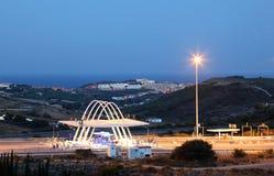 Toll gate illuminated at night Stock Photography
