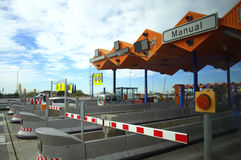 Toll gates on motorway. Near Barcelona city,Spain,Europe royalty free stock photos
