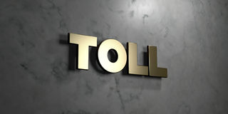Toll - Gold sign mounted on glossy marble wall  - 3D rendered royalty free stock illustration Royalty Free Stock Photos