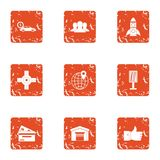 Toll highway icons set, grunge style. Toll highway icons set. Grunge set of 9 toll highway vector icons for web isolated on white background Stock Photo